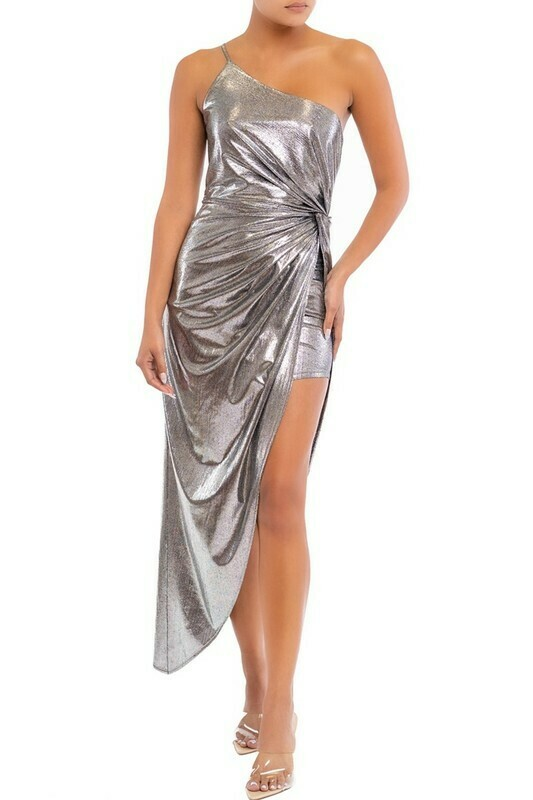 Taylor Jersey Drape Hem Dress