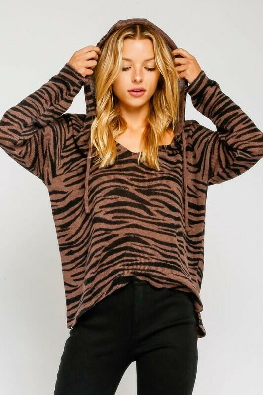 Brown Zebra Hoodie