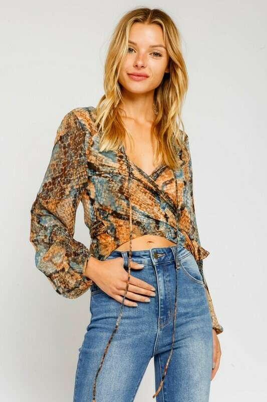 Taupe Snake Wrap Blouse