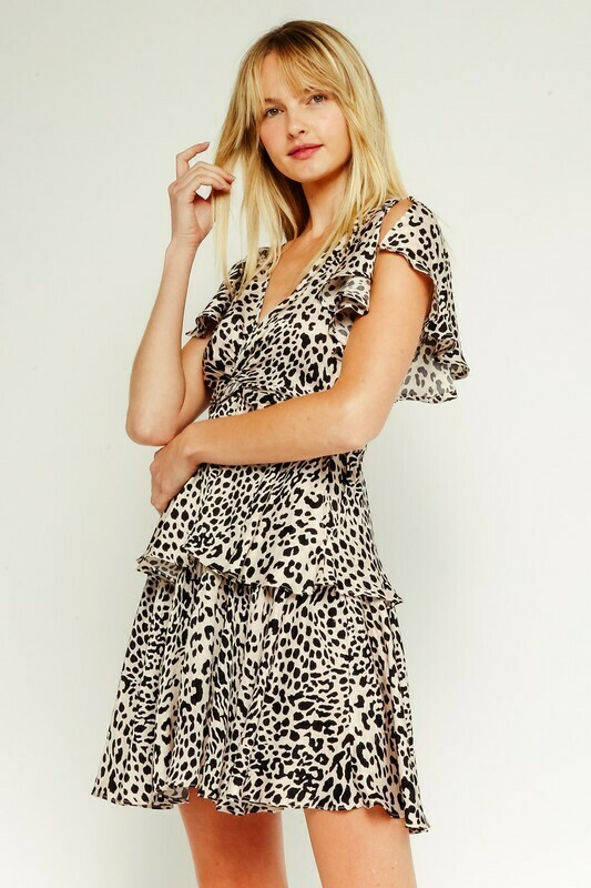 Cream Leopard Ruffle Play Dress