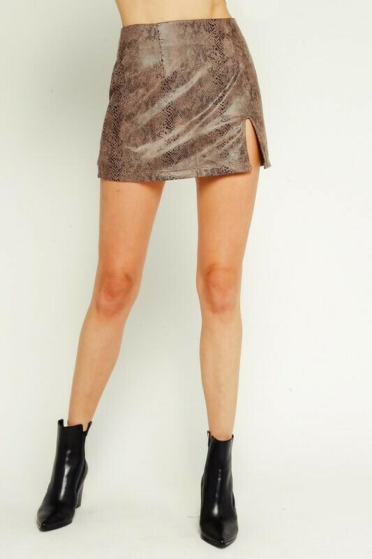Snake Leather Miniskirt