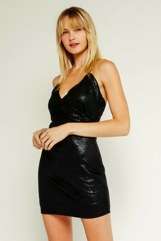 Snake Leather Ruched Dress