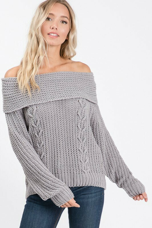 Lace Up Off Shoulder Sweater