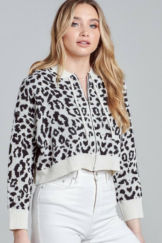 Leopard Print Zip Up Hoodie