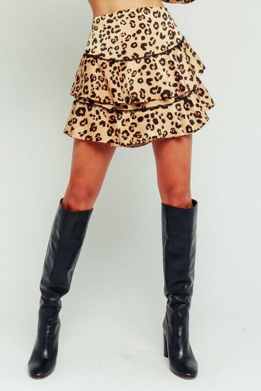 Satin Leopard Ruffled Miniskirt