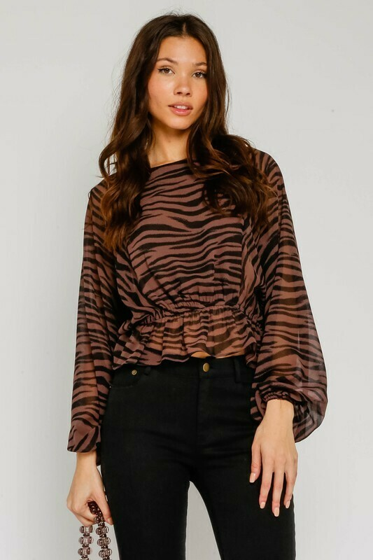 Brown Zebra Peplum Blouse