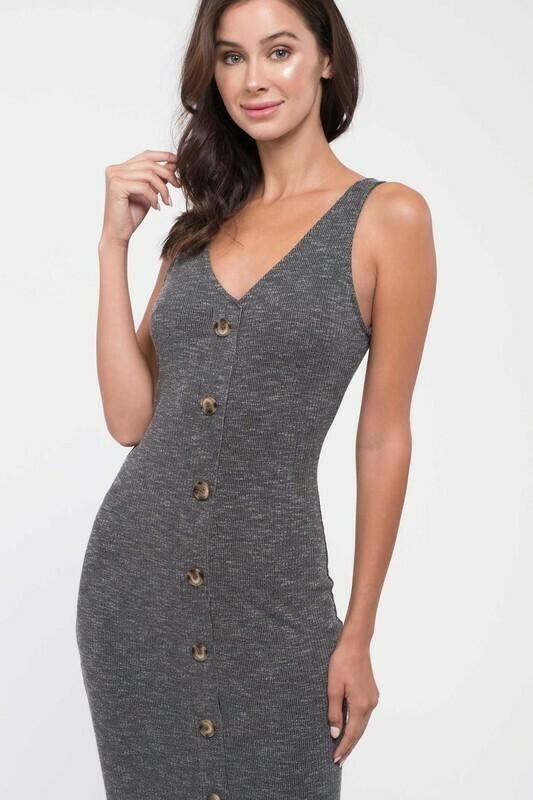 Button-Down Rib Knit Midi-Dress