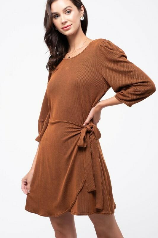 Ribbed Knit Wrap Skirt Dress