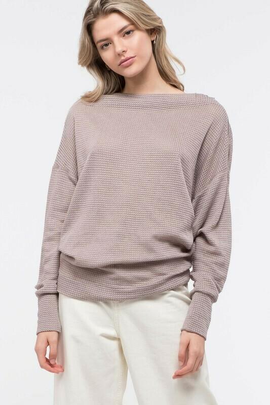 Shoulder-Zip Waffle Knit Top