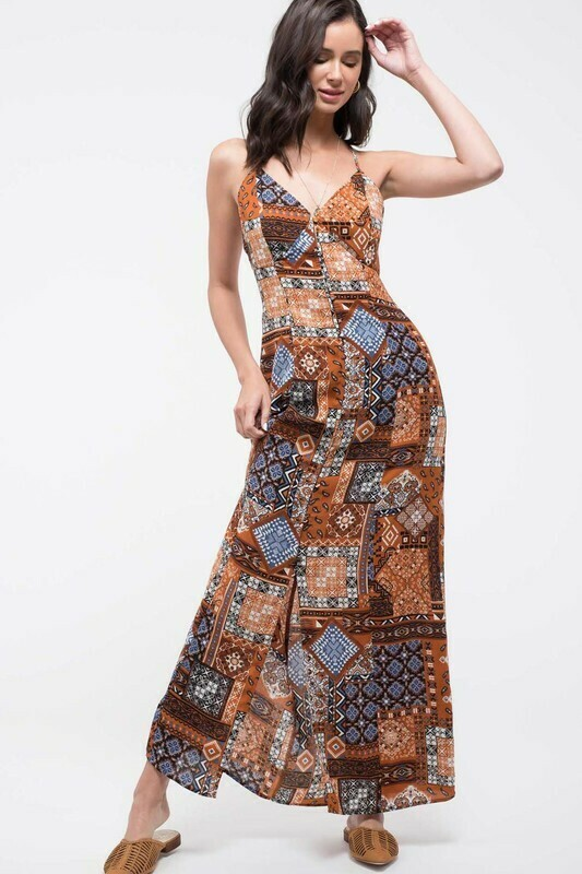 Button-up Patchwork Maxi Dress