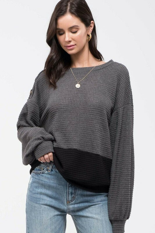 Colorblock Waffle Knit Top