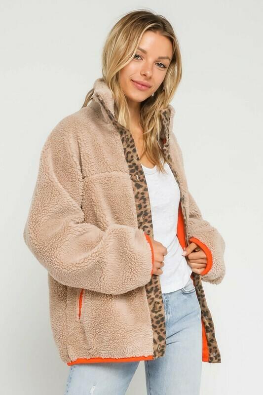 Shearling Leopard Trim Neon Jacket