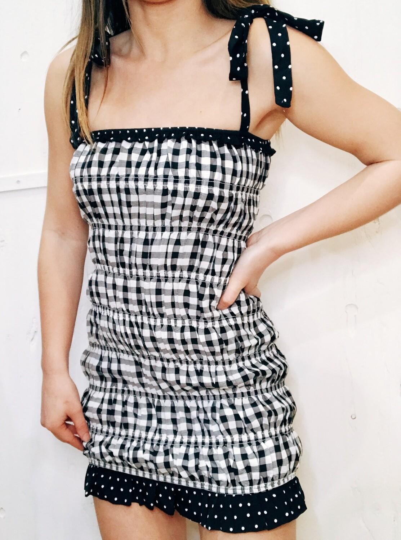 Plaid Smocked Shoulder Tie Dress