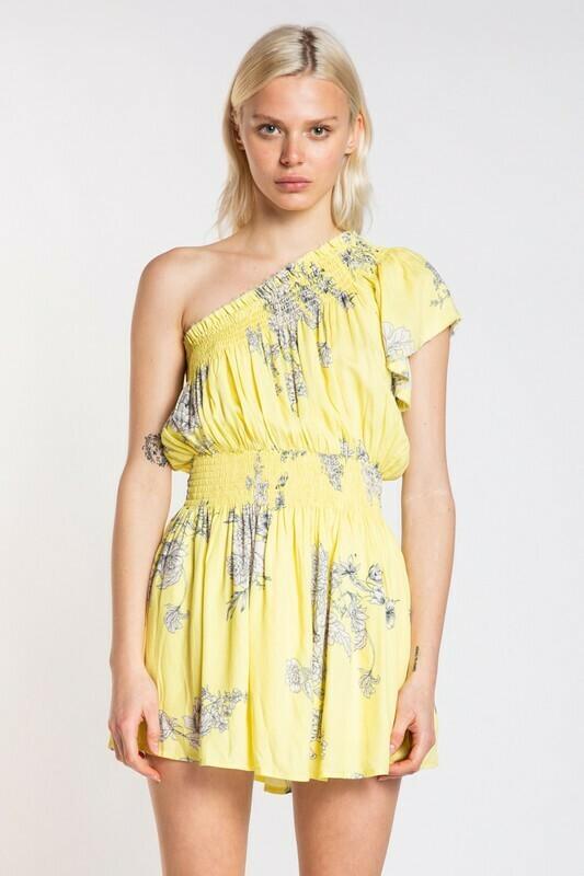 One Shoulder Smocked Floral Dress