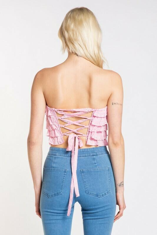 Back Lace Ruffle Tube Top
