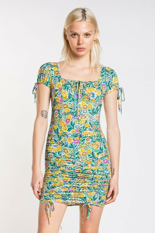Abstract Floral Tiered Mini Dress