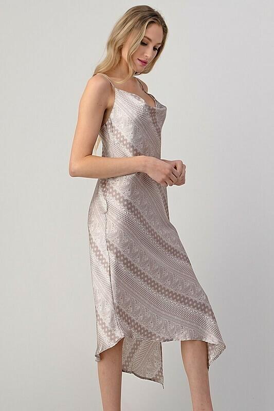 Nicki Cowl Neck Satin Dress