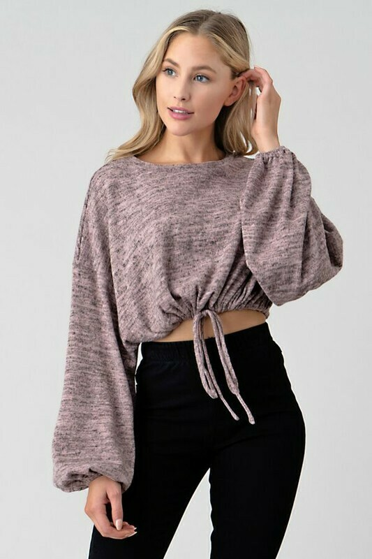 Brushed Hacci Drawstring Top