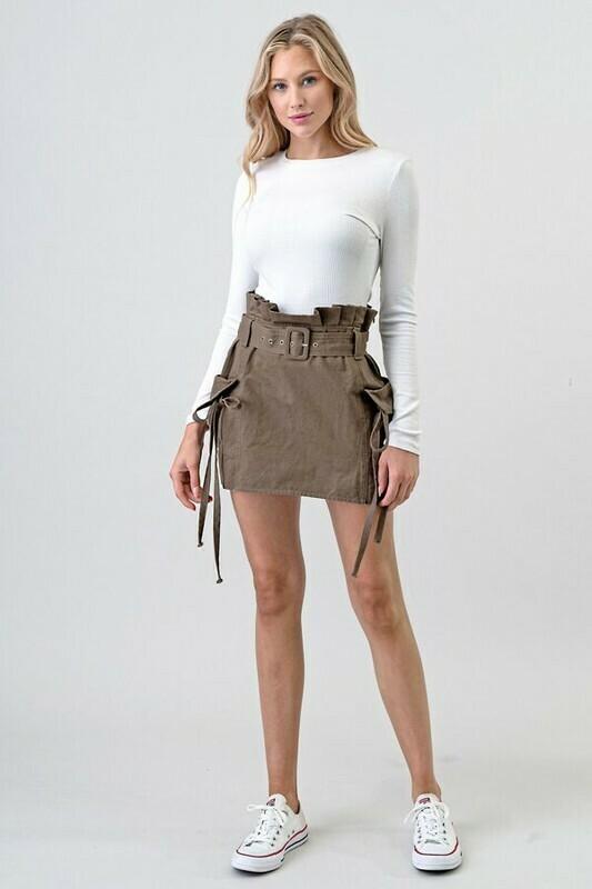 High Waist Cargo Skirt