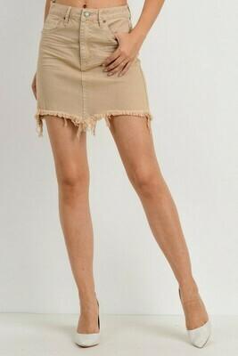 Frayed Hem Color Skirt