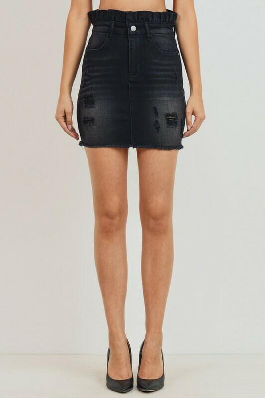 Paperbag Distressed Mini Skirt