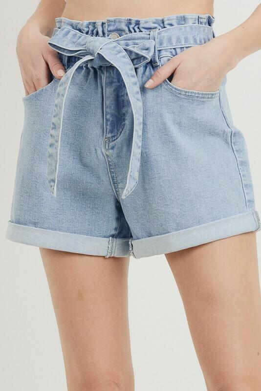 Elastic Waist Cuffed Shorts