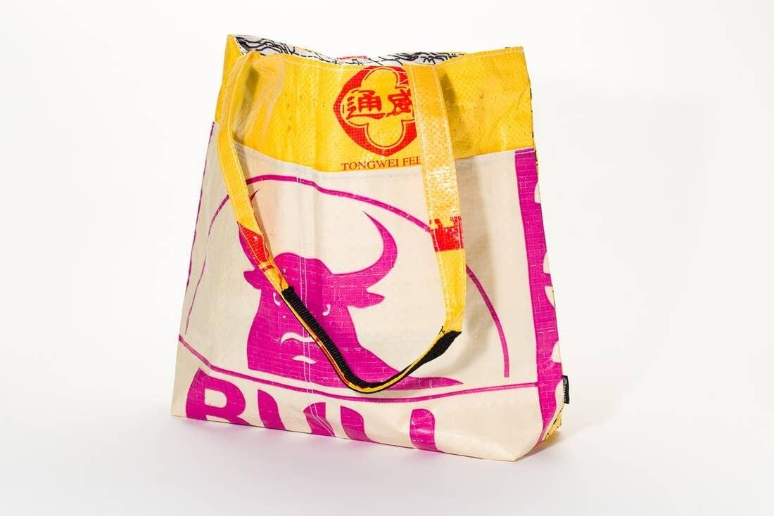 Pink Bull Yellow Barrel Tote Bag