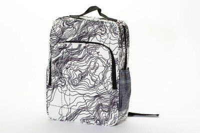 White Topography Square Backpack
