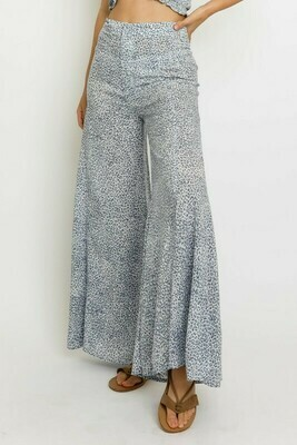 Blue Leopard Wide Leg Pants