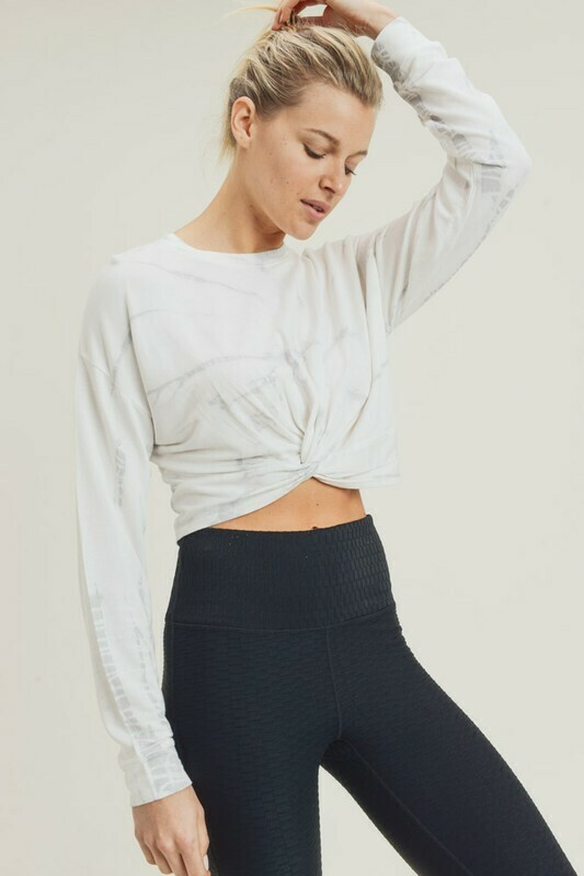 Marble Tie-Dye Twisted Front Cropped Pullover