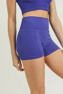 Ribbed & Smooth Combo Highwaist Short Shorts