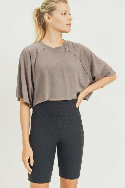 Cropped Raglan Short-Sleeve Shirt