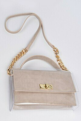 Snake Skin Shoulder Strap Leather Clutch