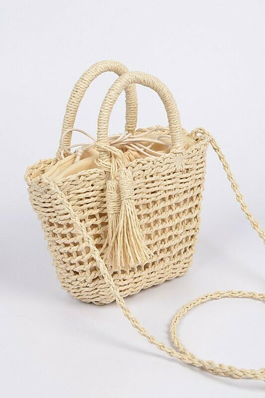 Monotone Straw Basket Crossbody Bag