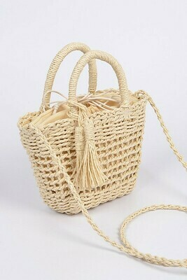 Monotone Straw Basket Crossbody Bag