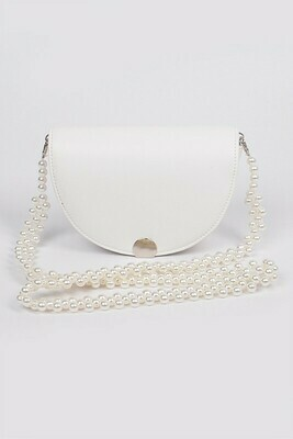 Cross Body Beads Strap Leather Clutch