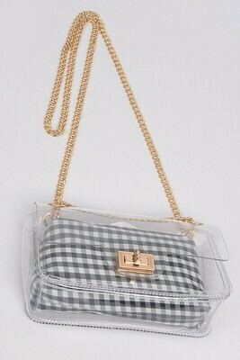 Plaid Print Cross Body Chain Strap Clutch