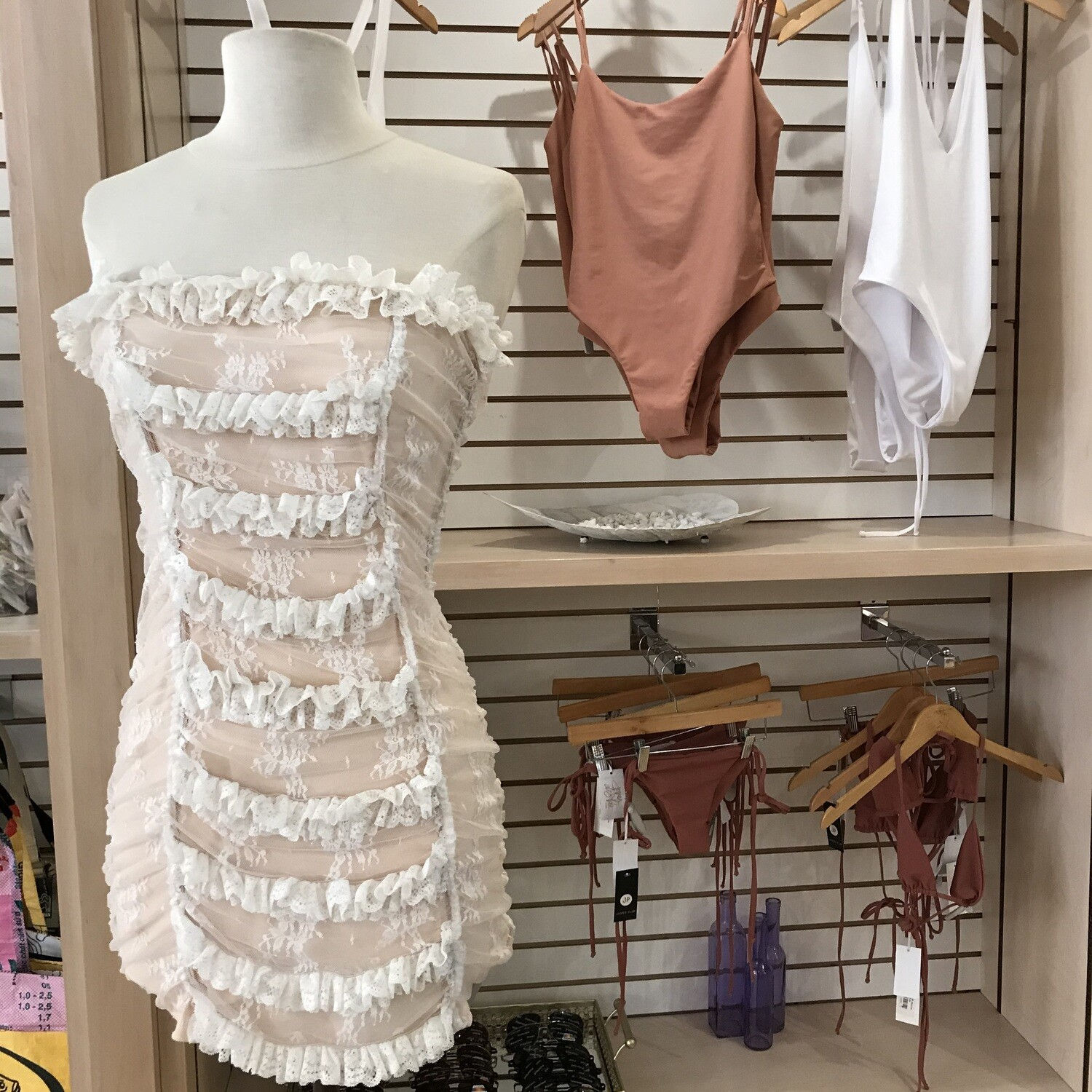 Payton Scrunch Lace Bandeau Dress