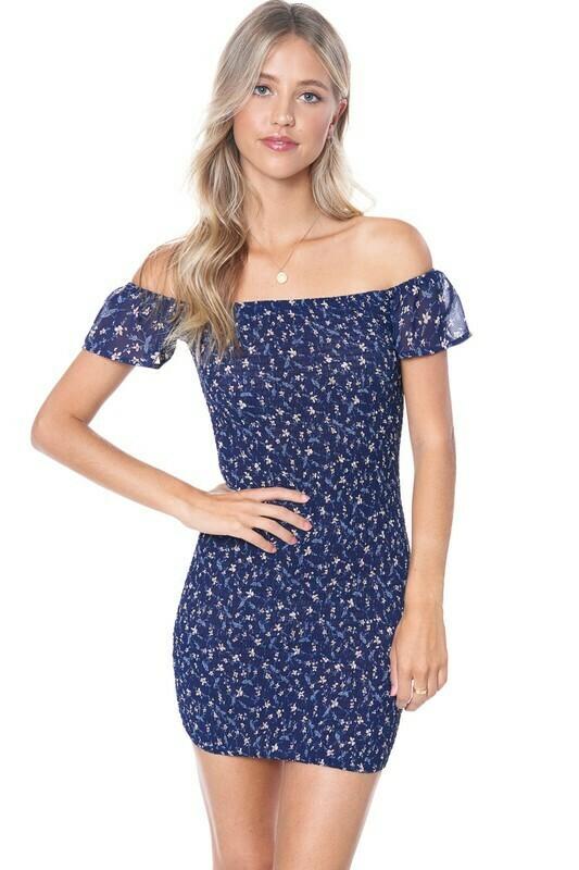 Smocked Off Shoulder Floral Dress