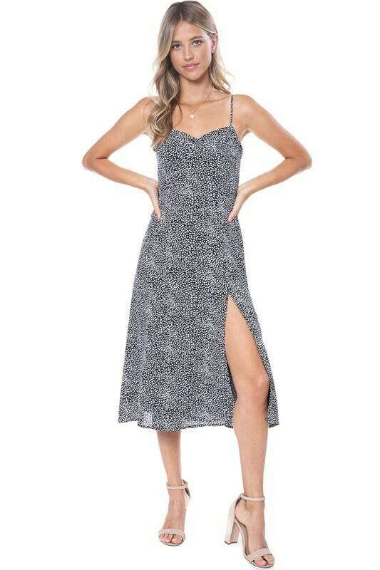 Polka Dot Slit Midi Dress