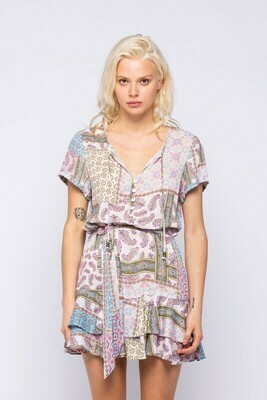 Patch Print Ruffled Mini Dress
