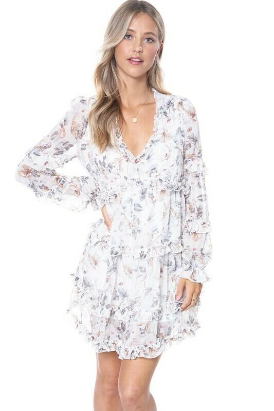Floral V-Neck Trim Dress