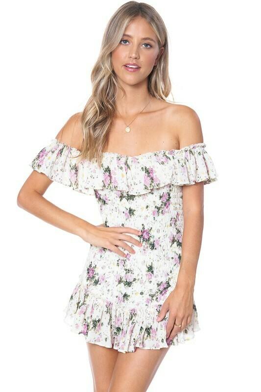 Peach Off Shoulder Floral Smocked Dress