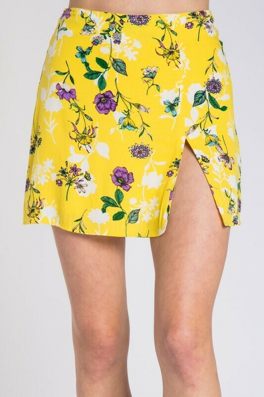 Floral Print Side Ruched Mini Skirt