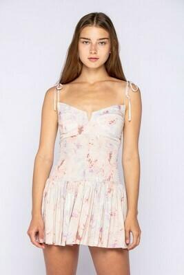 Tie Dye Sleeveless Adjustable Tie Mini Dress