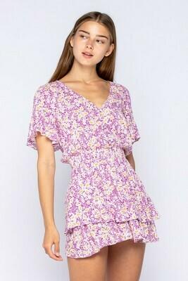 Becky Floral Print Smocked Mini Dress