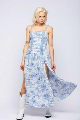 Gina Leaf Print Slit Dress
