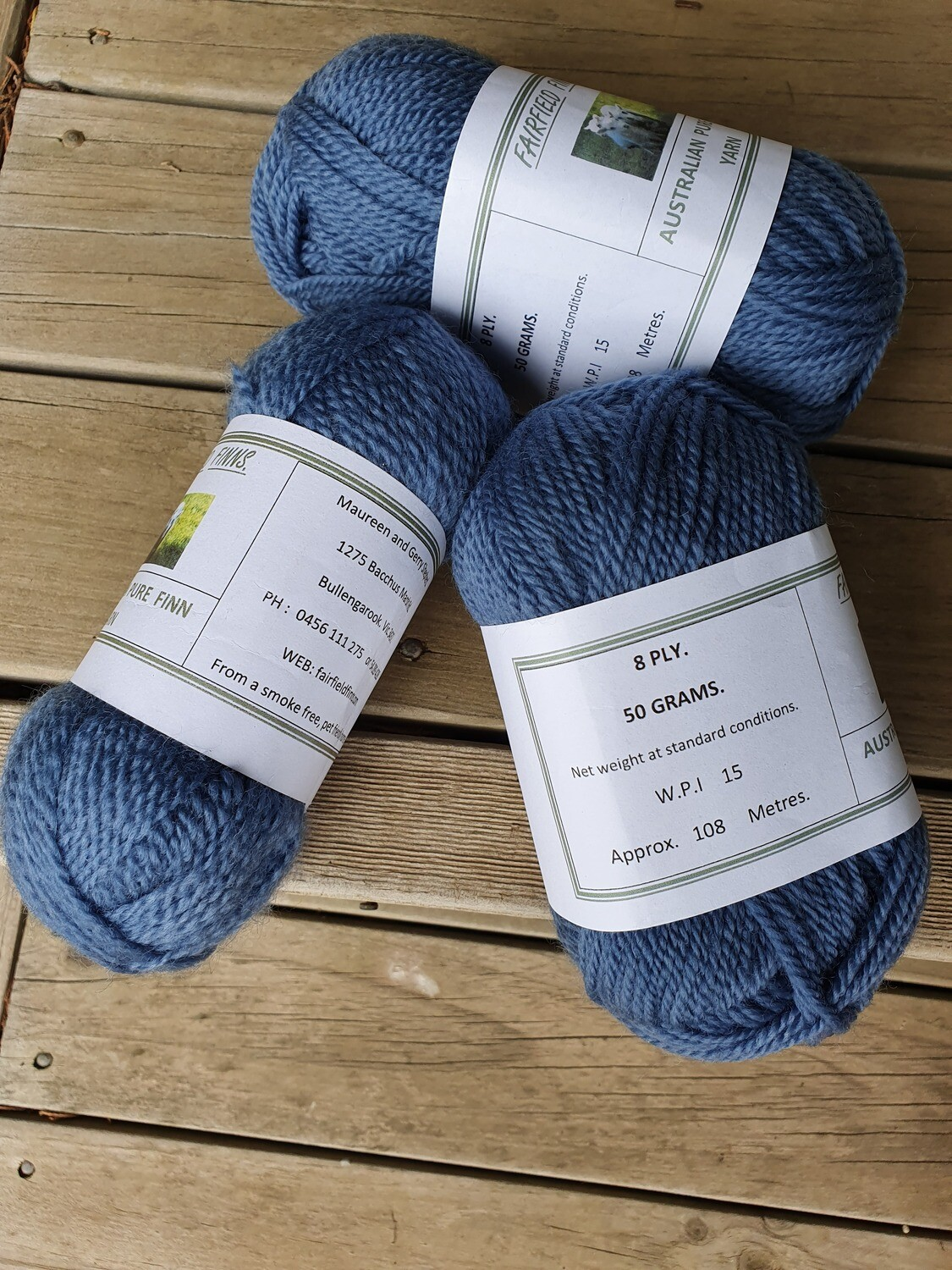 Commercially dyed Denim balls. 8 ply.