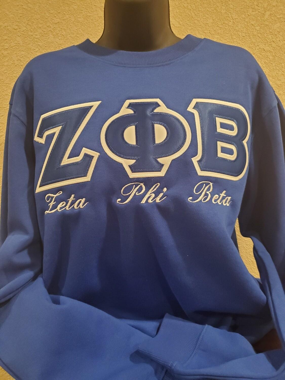 (Royal Blue) Zeta Phi Beta Embroidered Twill Letter Crew Neck Sweatshirt