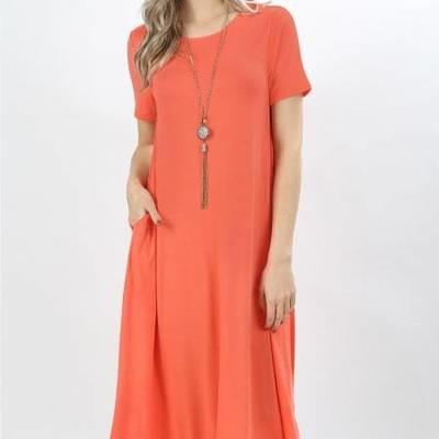 Bamboo Short Sleeve Round Neck Dress W/Pockets